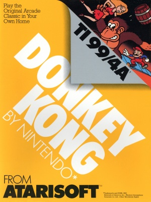 Front of Retail Packaging for Donkey Kong for the TI-99/4A